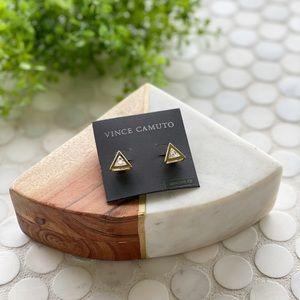 NWT Vince Camuto Triangle Gold & Diamond Earrings